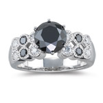 3.20-3.27 Cts Black & White Diamond Ring in 18K White Gold