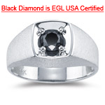 1.00 Ct Round AA Black Diamond EGL USA Certified Mens Ring in 14K White Gold