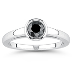 0.66 Ct Black Diamond Solitaire Ring in 14K White Gold