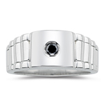 0.16 Ct Black Diamond Mens Rolex Ring in Silver