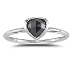 0.70 Cts Black Diamond Heart Solitaire Ring in 14K White Gold