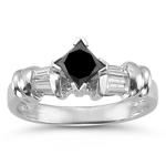 0.89 Cts Black & White Diamond Ring in 14K White Gold