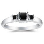 1.10 Cts Black Diamond Three Stone Ring in 18K White Gold