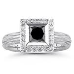 1.25 Cts Black & White Diamond Ring in 14K White Gold