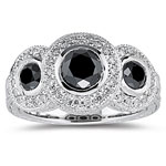2.41 Cts White & Black Diamond Ring in 14K White Gold