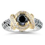1.86 Cts Black & White Diamond Ring in 14K White Gold