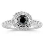 1.37 Cts Black & White Diamond Ring in 14K White Gold