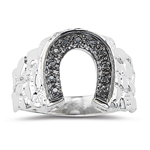 0.05 Ct Black Diamond Horse Shoe Mens Ring in Silver