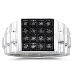 0.08 Ct Black Diamond Mens Ring in Silver