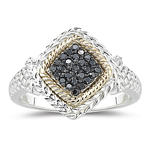 0.14 Cts Black Diamond Mens Ring in Yellow Gold & Silver