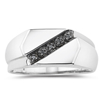 0.03 Ct Black Diamond Men's Ring in Silver