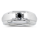 0.45 Ct Black Diamond Mens Ring in Silver