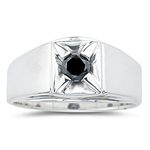 0.45 Cts Black Diamond Mens Ring in Silver