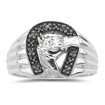 0.07 Ct Black Diamond Horseshoe Men's Ring in Silver