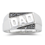 0.01-0.06 Cts Black Diamond Dad Ring in Silver