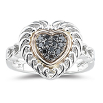 0.22 Ct Black Diamond Heart Ring in Pink Gold & Silver