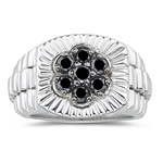 0.69 Ct Black Diamond Mens Ring in Silver