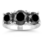 5.97 Cts Black & White Diamond Ring in 14K White Gold