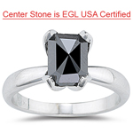 1.73 Cts Black Diamond Solitaire Ring in 14K White Gold