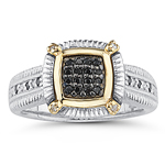 0.16 Cts Black & White Diamond Mens Ring in Yellow Gold & Silver