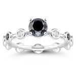 1.59 Cts Black & White Diamond Ring in 14K White Gold