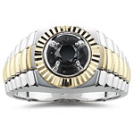 0.68 Cts AA Black Diamond Two Tone Mens Ring in 14K Gold.