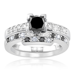 2.24 Ct White & Black Diamond Matching Ring Set in 18K White Gold