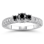 1.00 Cts Black & White Diamond Ring in 18K White Gold