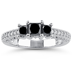 1.30 Cts Black & White Diamond Ring in 18K White Gold