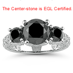 4.87 Cts Black & White Diamond Ring in 18K White Gold