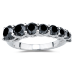 2.93 Ct Black Diamond Journey Ring in 14K White Gold