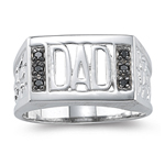 0.12 Cts Black Diamond Dad Ring in Silver