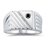 0.12 Cts Black Diamond Mens Ring in Silver