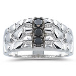0.35 Cts Black Diamond Mens Ring in 14K White Gold