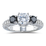 1.36 Cts Black & White Diamond Ring Setting in 14K White Gold
