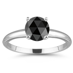3/4 Cts Round Rose Cut A Black Diamond Solitaire Ring in 14K White Gold