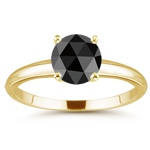 3/4 Cts of 5.40-6.00 mm round rosecut AAA Black Diamond Solitaire Ring in 18K Yellow Gold