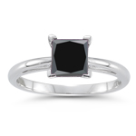 1.62-1.92 Cts of 5.50-6.00 mm AAA princess Black Diamond Scroll Solitaire Ring in Platinum