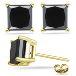 0.85 Ct AA Princess Cut Black Diamond Stud Earrings in 14K Yellow Gold