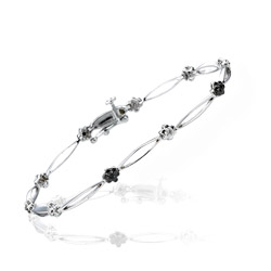 0.21 Cts Black & White Diamond Floral Bracelet in 14K White Gold - Christmas Sale