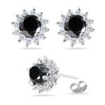 5.50-6.56 Cts Black & White Diamond Cluster Stud Earrings in 18K White Gold