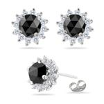 1.68-1.94 Cts Black & White Diamond Cluster Stud Earrings in 14K White Gold