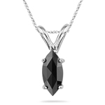 0.34 Cts Black Diamond Solitaire Pendant in 14K White Gold