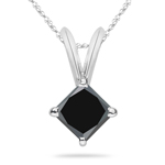 1.00 Ct EGL USA Certified Princess AA Black Diamond Solitaire Pendant in 14K White Gold