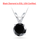 3.00 Cts EGL USA Certified 8.20-9.03 mm AA Round Black Diamond Solitaire Pendant in 14K White Gold