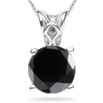 2 1/2 Cts EGL USA Certified Round AA Black Diamond Scroll Solitaire Pendant in Platinum