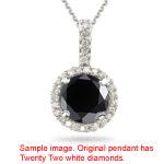 1.38-1.65 Cts Black & White Diamond Pendant in 18K White Gold