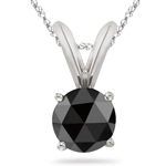 3/8 Cts of 4.10-4.50 mm AAA Round Rose Cut Black Diamond Solitaire Pendant in Platinum