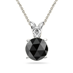 2 1/2 Cts EGL USA Certified Round Rose Cut AAA Black Diamond Scroll Solitaire Pendant in Platinum