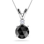 1.75 Cts Black & White Diamond Pendant in Platinum